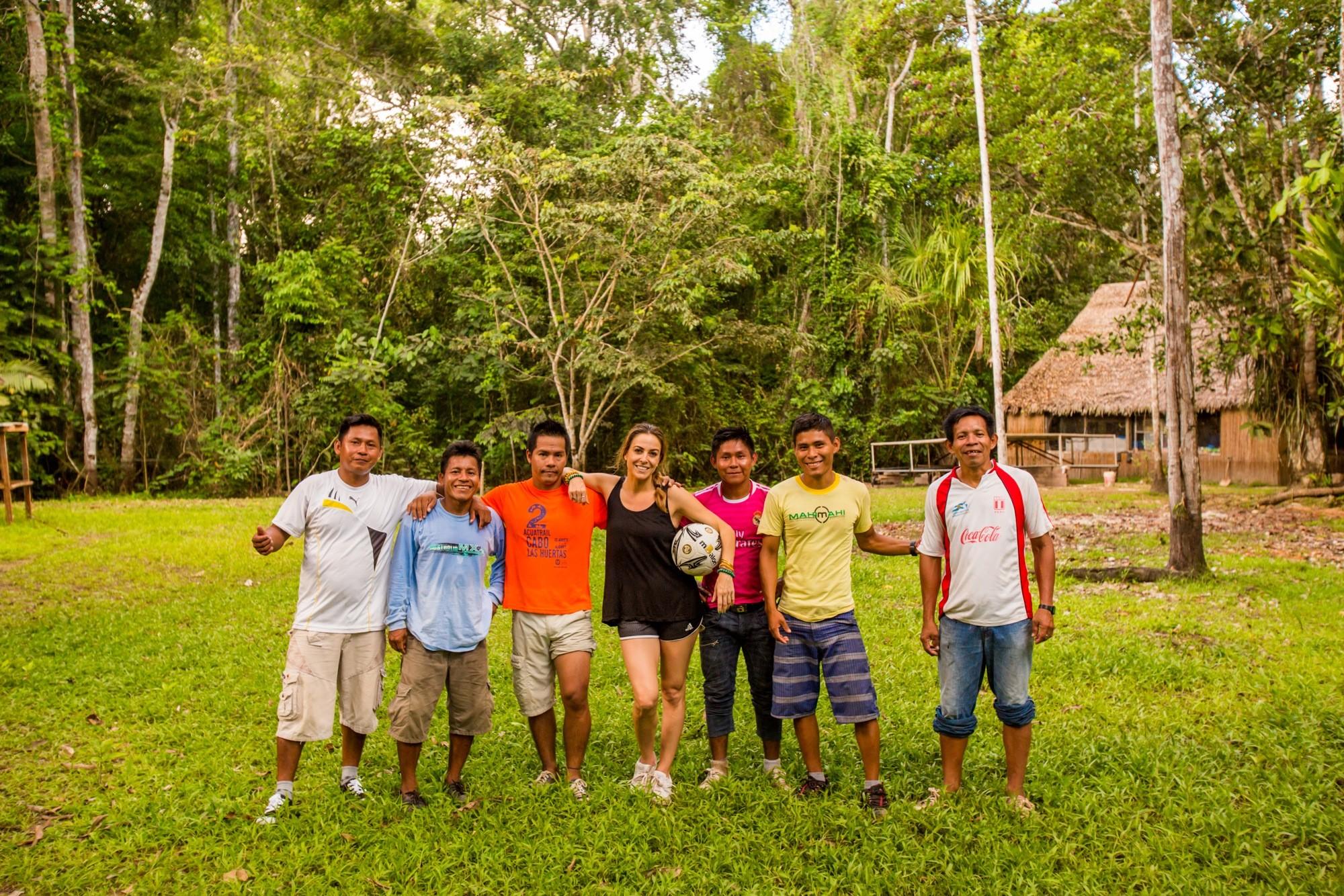 Amazon River travel Peru village soccer